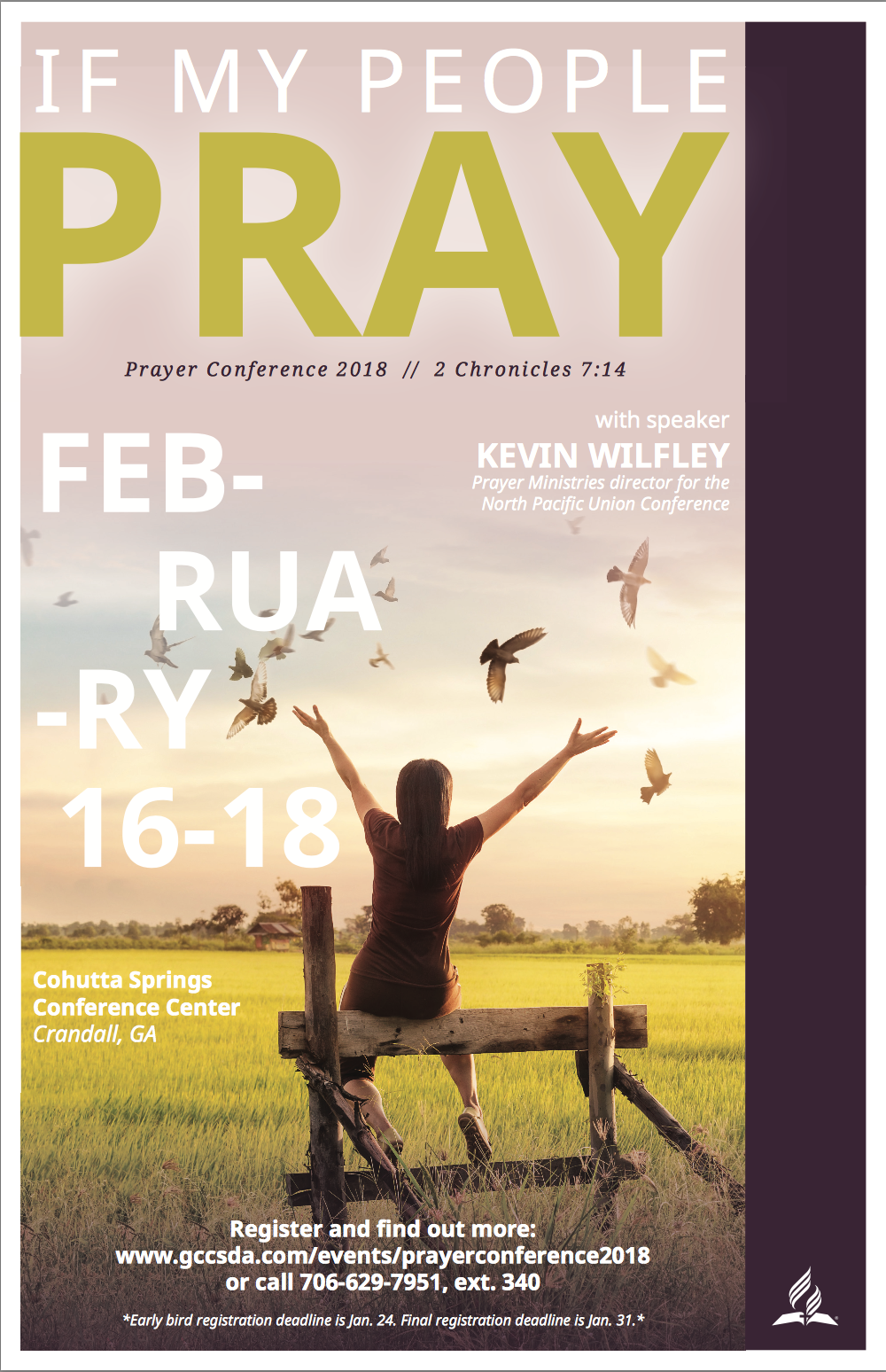 Hurry folks the Early Bird Deadline is Jan. 24th  Register online or contact the Pastor for help.